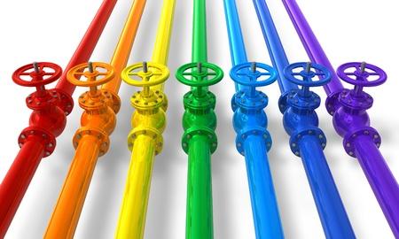 バルブでのパイプラインの虹