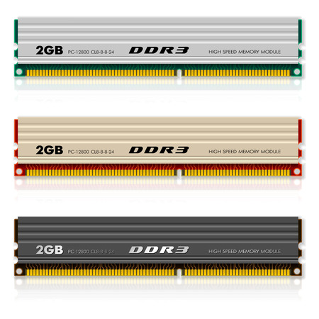 dram: Set of DDR3 memory modules Illustration