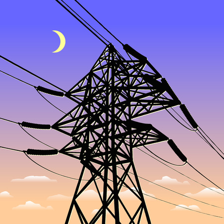 High voltage power line in sunset Vector