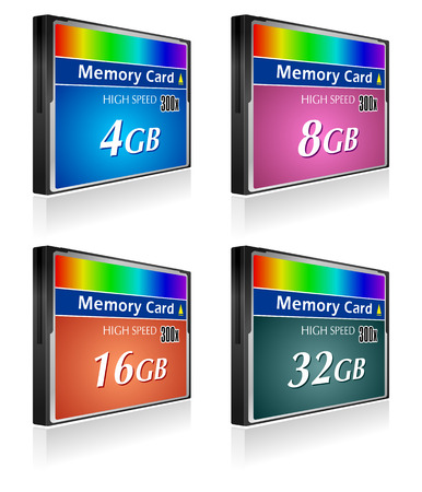 Set of CompactFlash memory cards Vector