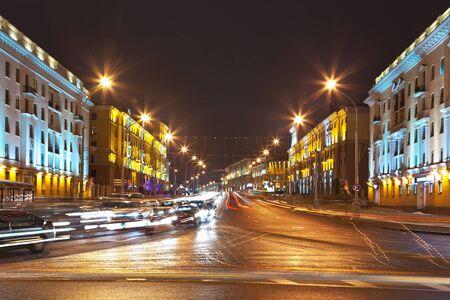 walkway: Night cityscape of Minsk, Belarus Stock Photo