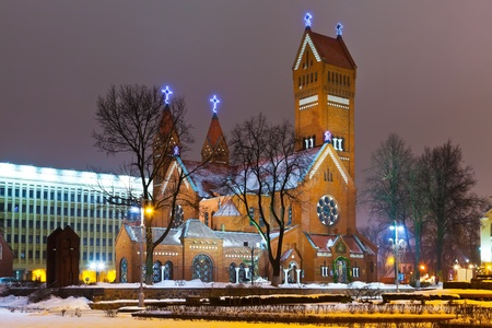 Ancient Christian church at night in Minsk, Belarus photo