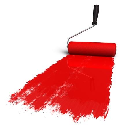 maleza: Pincel de rodillos rojo con pista de pintura Foto de archivo