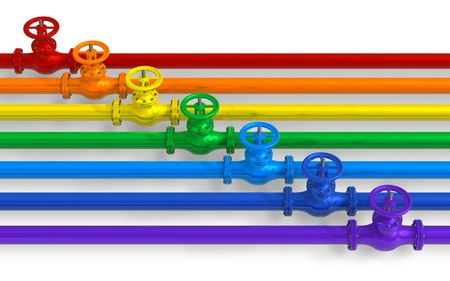 gas pipe: Rainbow pipelines with valves