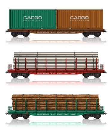 wood railway: Set of freight railroad cars Stock Photo