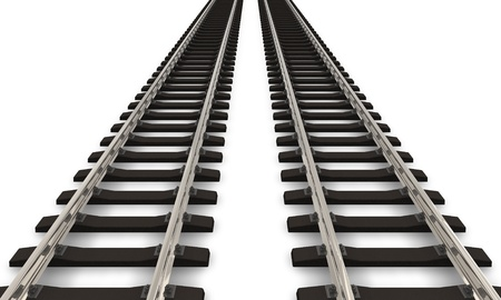 doubled: Two railroad tracks Stock Photo