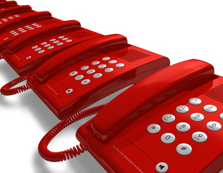 help button: Row of red office phones