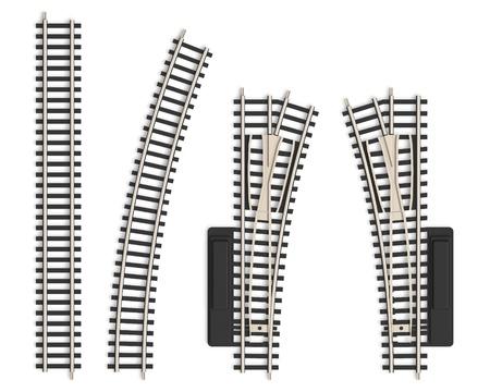 Set of miniature railroad track elements photo