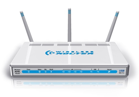 White wireless ADSL router *** Design of this device is my OWN Stock Photo - 8994853