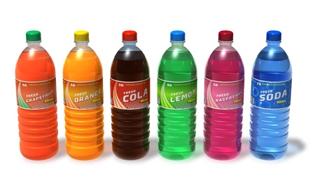 cola canette: Set of refreshing drinks in plastic bottles