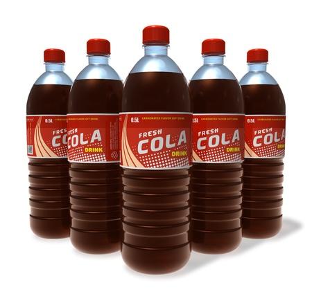 cola canette: Ensemble de cola boissons dans des bouteilles en plastique
