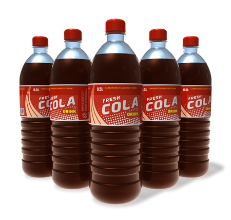 carbonated drink: Set of cola drinks in plastic bottles