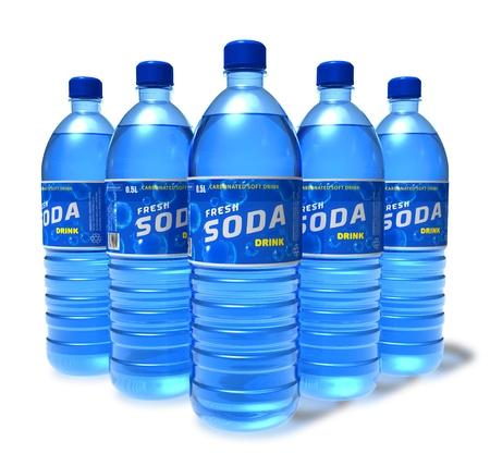 bottled: Set of soda drinks in plastic bottles