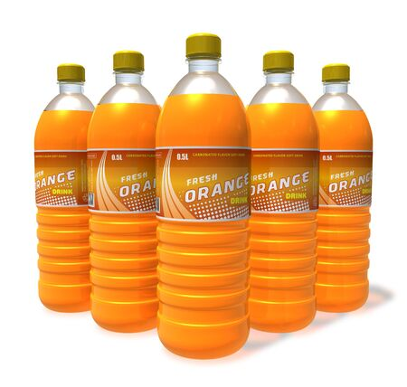 Set of orange drinks in plastic bottles photo