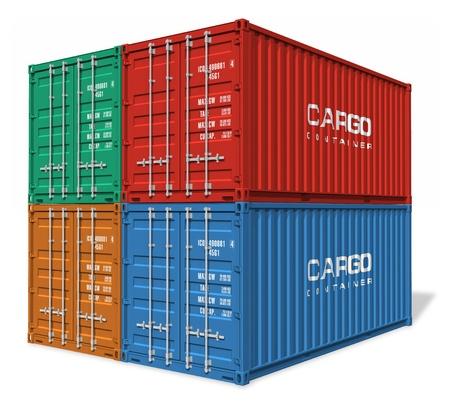 export and import: Conjunto de contenedores de carga Foto de archivo
