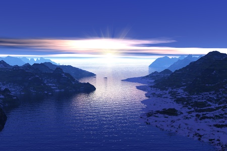 scandinavia: Morning in the fjords in Norway