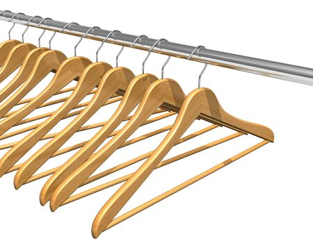 Coat hangers on clothes rail photo