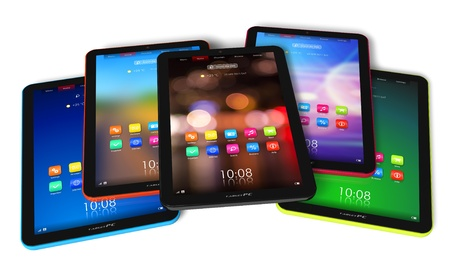 Set of color tablet computers *** Design of these devices is MY OWN Stock Photo - 9034388
