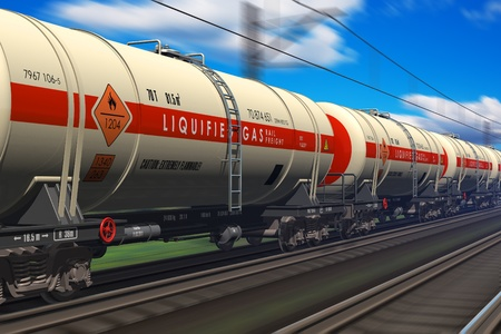 goods train: Freight train with gasoline tanker cars  Stock Photo