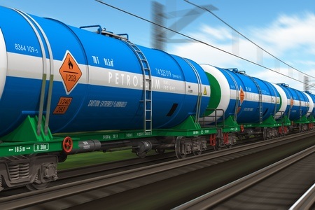 liquified: Freight train with petroleum tanker cars *** Design of tank cars is MY OWN Stock Photo
