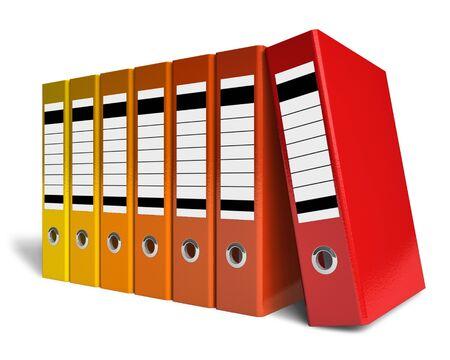 Fila de carpetas de Oficina de color Foto de archivo