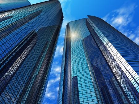 Moderne blauwe weerspiegelende kantoorgebouwen
