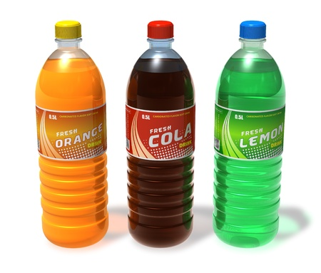 Set of refreshing drinks in plastic bottles *** Design of these bottles is my OWN photo