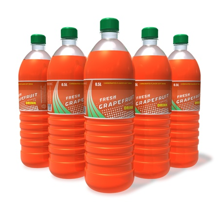 Set of grapefruit drinks in plastic bottles *** Design of these bottles is my OWN Stock Photo - 9167557