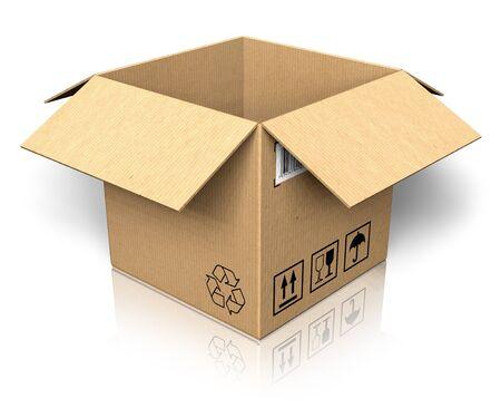 merchandize: Empty opened cardboard box