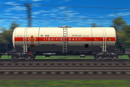 liquified: Freight train with gasoline tanker cars *** Design of this tanker car is my OWN