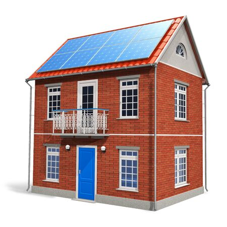 House with solar batteries on the roof photo