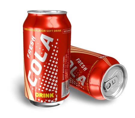 drinking soda: Cola drinks in metal cans *** Design and text labels of these drink cans is MY OWN Stock Photo