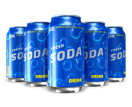 nonalcoholic: Set of refreshing soda drinks in metal cans *** Design and text labels of these drink cans is MY OWN Stock Photo