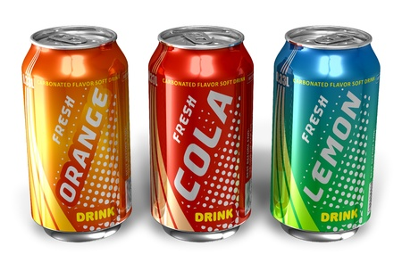 drinking soda: Set of refreshing soda drinks in metal cans *** Design and text labels of these drink cans is MY OWN Stock Photo
