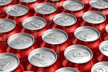 Macro of metal cans with refreshing drinks photo