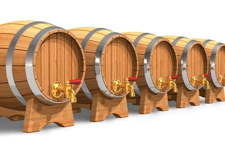 Row of wooden wine barrels with valves photo