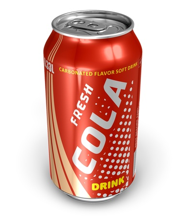 Bebida de cola en metal puede  Foto de archivo