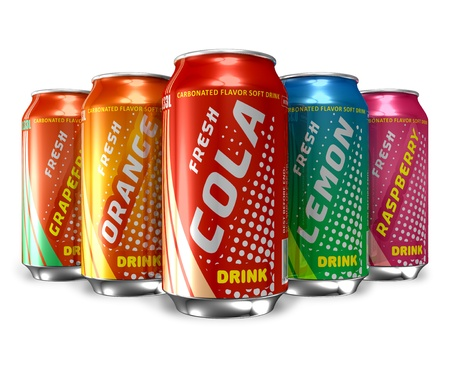 fizzy: Set of refreshing soda drinks in metal cans