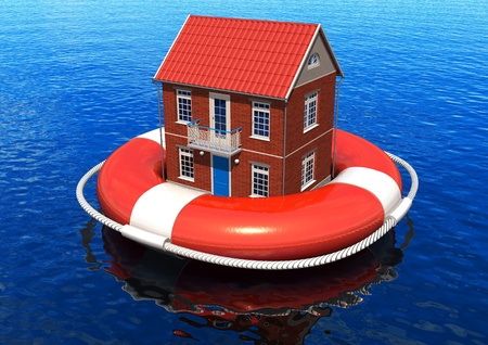 lifebuoy: Rescue of real estate concept Stock Photo