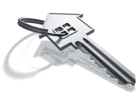 Silver house-shape key Stock Photo - 9196445