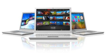 netbooks: Set of white laptops *** DESIGN OF THESE LAPTOPS AND ALL USED PHOTOS ARE MY OWN. PLEASE SEE RELEASE Stock Photo