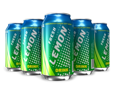 nonalcoholic: Set of lemon soda drinks in metal cans *** DESIGN IS MY OWN