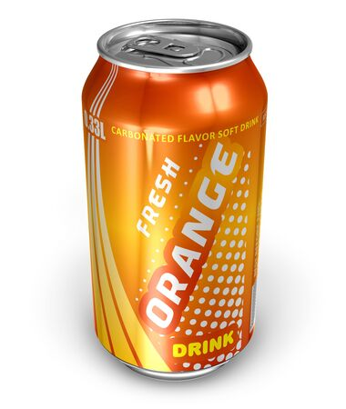 Orange soda drink in metal can  photo