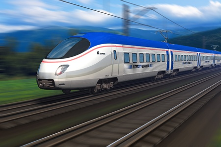 Modern high speed train with motion blur   photo