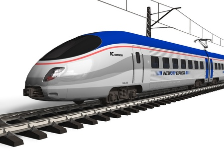 high speed train: Modern high speed train isolated on white *** DESIGN OF THIS TRAIN IS MY OWN Stock Photo