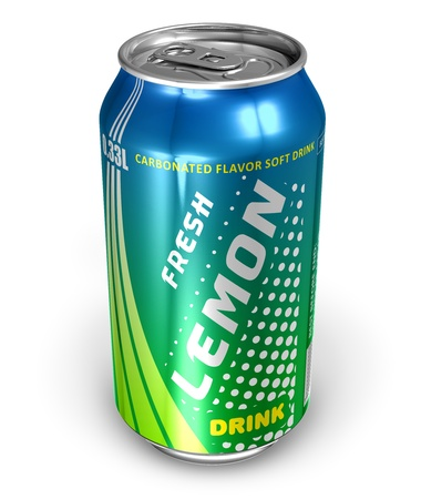 drinking soda: Lemon soda drink in metal can *** DESIGN IS MY OWN Stock Photo