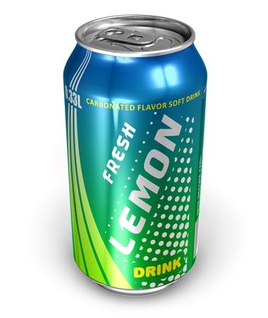 Lemon soda drink in metal can *** DESIGN IS MY OWN