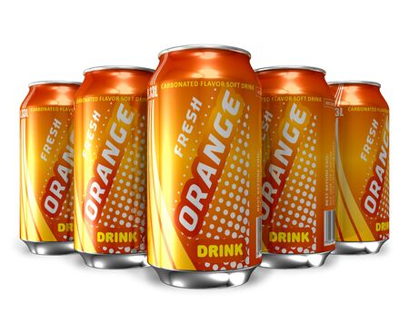 Set of orange soda drinks in metal cans *** DESIGN IS MY OWN Stock Photo - 9341124