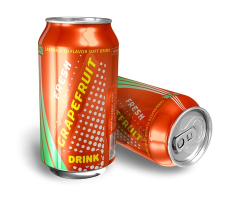 Grapefruit soda drinks in metal cans  photo