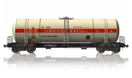 goods train: Gasoline tanker railroad car